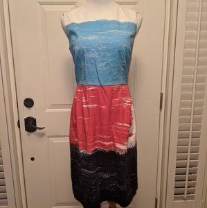 Lands End Sz 8 Red Blue Sleeveless Midi Dress
